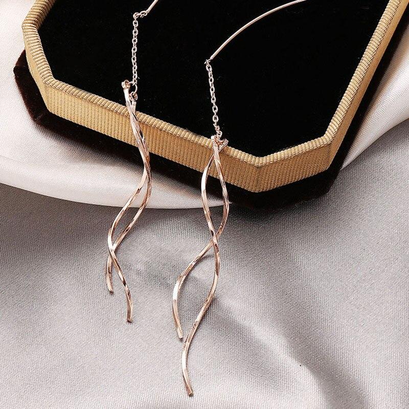 XIYANIKE Hot Sale 925 Sterling Silver Long Tassel Earrings Trendy Elegant Party Accessories Fine Jewelry for Women Couple Gifts