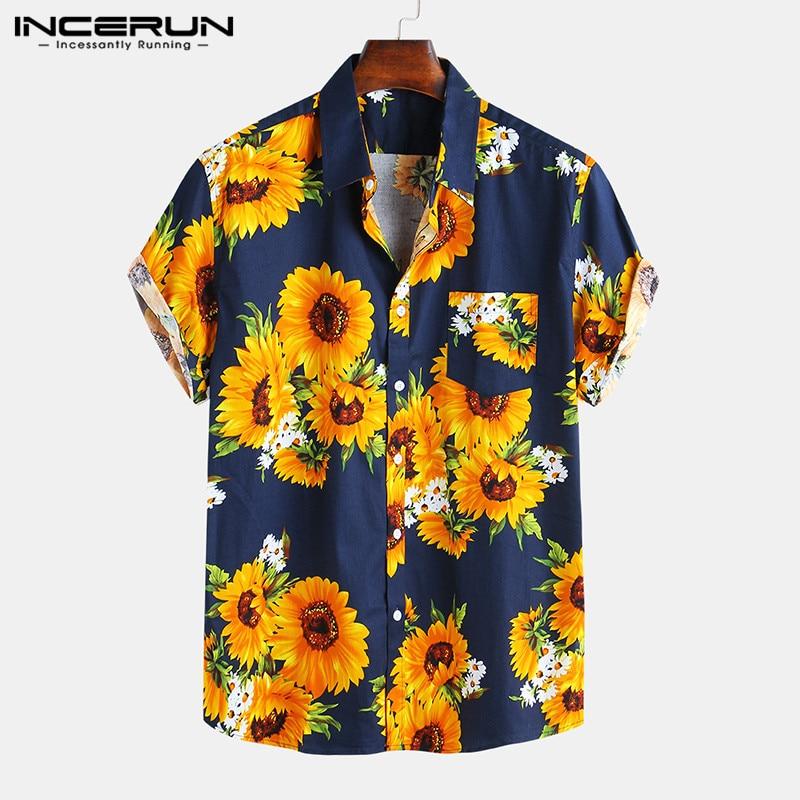 Summer Flower Printed Men Casual Hawaiian Shirts Short Sleeve Cotton Streetwear Lapel Beach Camisa 2020 Brand Shirts INCERUN 7