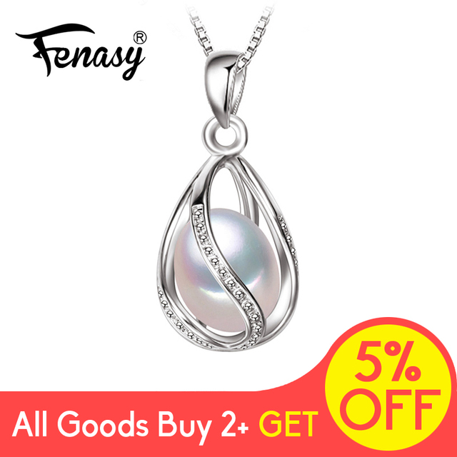 Natural Freshwater Pearl Pendant Cage Necklace Fashion 925 Sterling Silver Boho Statement Necklace Pearl Jewelry