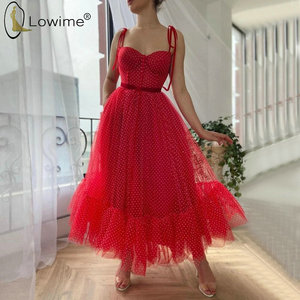 Simple rouge cheville longueur robes de bal 2020 une ligne Spaghetti à pois robes de soirée