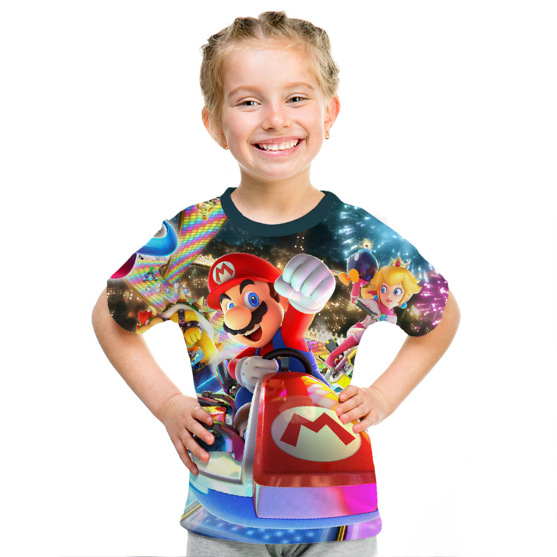 Image 4 - 2019 New Game Super Mary Kids Funny Tops T shirt Full Color O neck hrarjuku 3d Printed Tees Game boys girls Casual Clothing Kid-in Matching Family Outfits from Mother & Kids