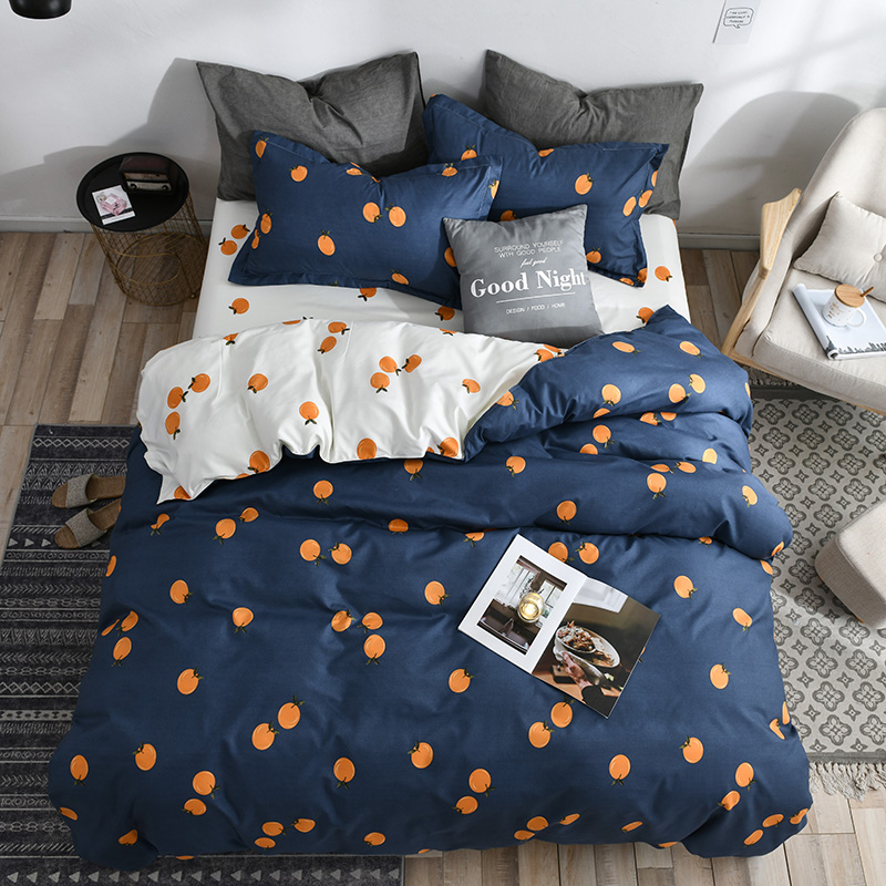 Classic Bedding Set 5 Size Stripe Heart Black Bed Linen 4pcs/set Duvet Cover Set Pastoral Bed Sheet AB Side Duvet Cover 2019 Bed