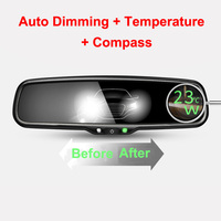 ANSHILONG Car Rear View Rearview Interior Auto Dimming Mirror with Temperature Compass and Special Bracket