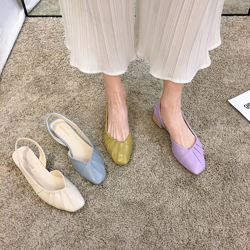 Women's Shoes Square Head Sandals 2020 New Spring Fashion Pleated Thick Heel Slippers Middle Heel Shoes
