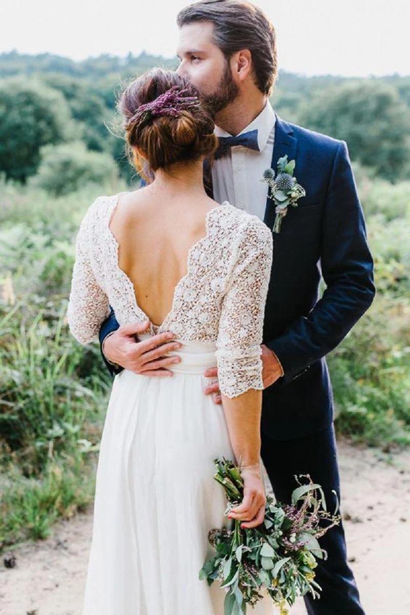 Long Sleeves Wedding Dresses Lace Chiffon Floor Length Backless A-Line Boho Bridal Gowns Bride Dress Vestido de Noiva