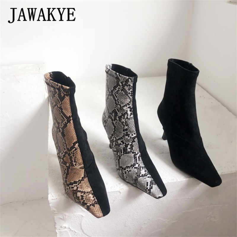 Seksi yılan desen Patchwork yarım çizmeler Kadın Kare ayak yan fermuar Yüksek topuklu ayakkabılar Moda Parti kısa çizmeler zapatos mujer