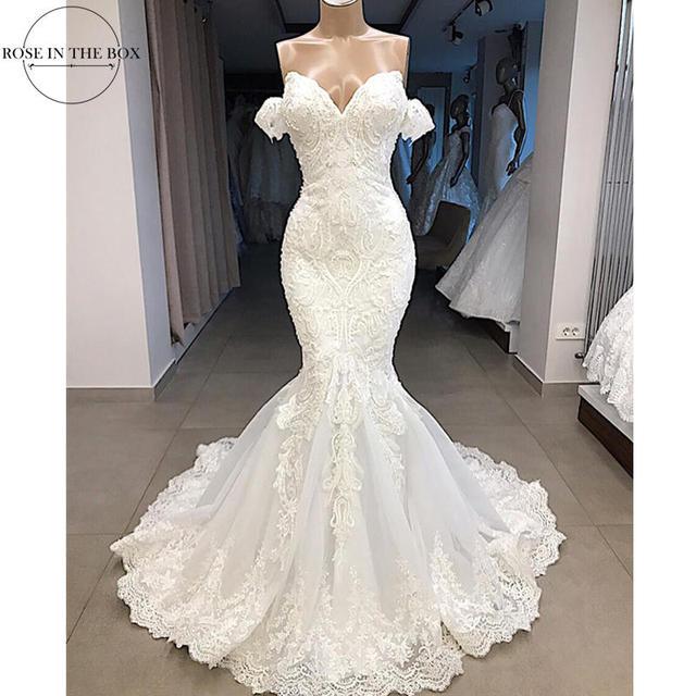 Lüks boncuklu Mermaid dantel düğün elbisesi seksi Cap Sleeve gelinlik özelleştirilmiş süpürme tren gelin elbise Robe de Mariee