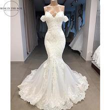 Luksusowe zroszony syrenka koronkowa suknia ślubna Sexy krótki kimonowy rękaw suknie ślubne dostosowane Sweep pociąg suknia ślubna Robe de Mariee