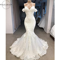 Luxury Beaded Mermaid Wedding Dress 2019 Sexy Backless Lace Wedding Gowns Off Shoulder Customized Sweep Train Bridal Dress