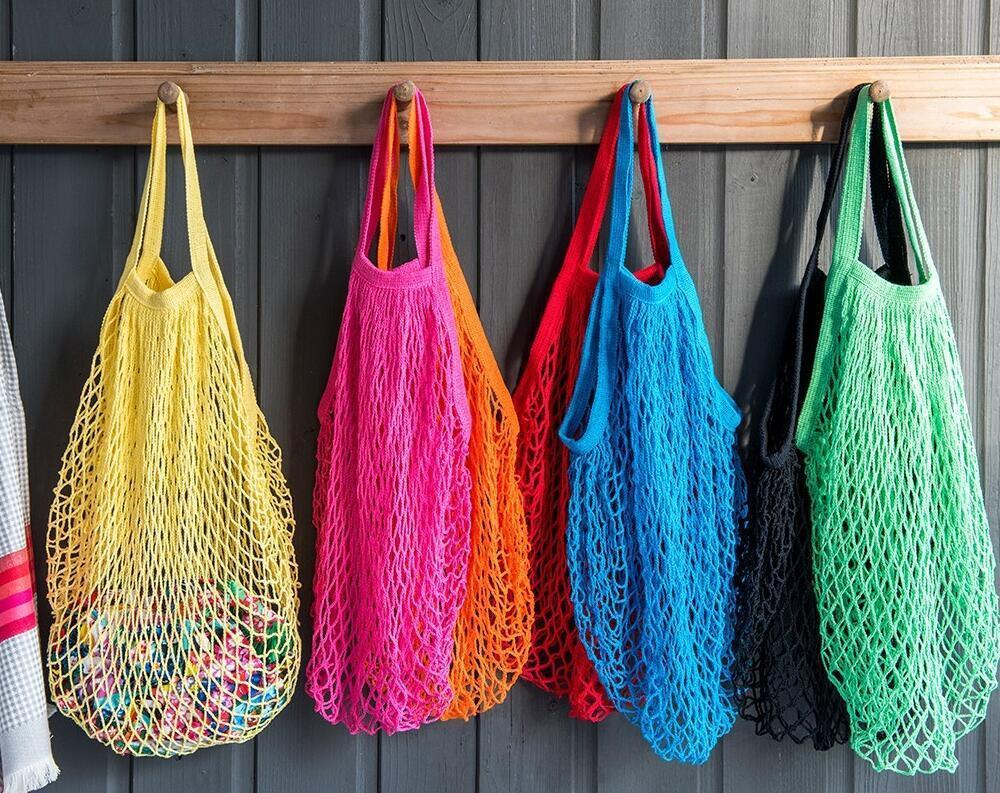Large Shopping Bag Reusable Fruit Shopping String Grocery Shopper Cotton Tote Mesh Woven Net Bag