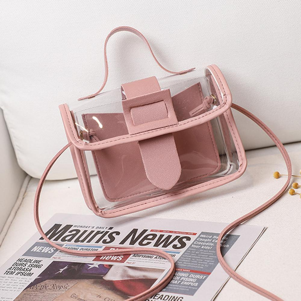 2020 Spring Summer Fashion Women's Transparent Square Sling Bag Cool PVC Shoulder Bag Messenger Bag Mobile Sweet Lady Bag  Sac