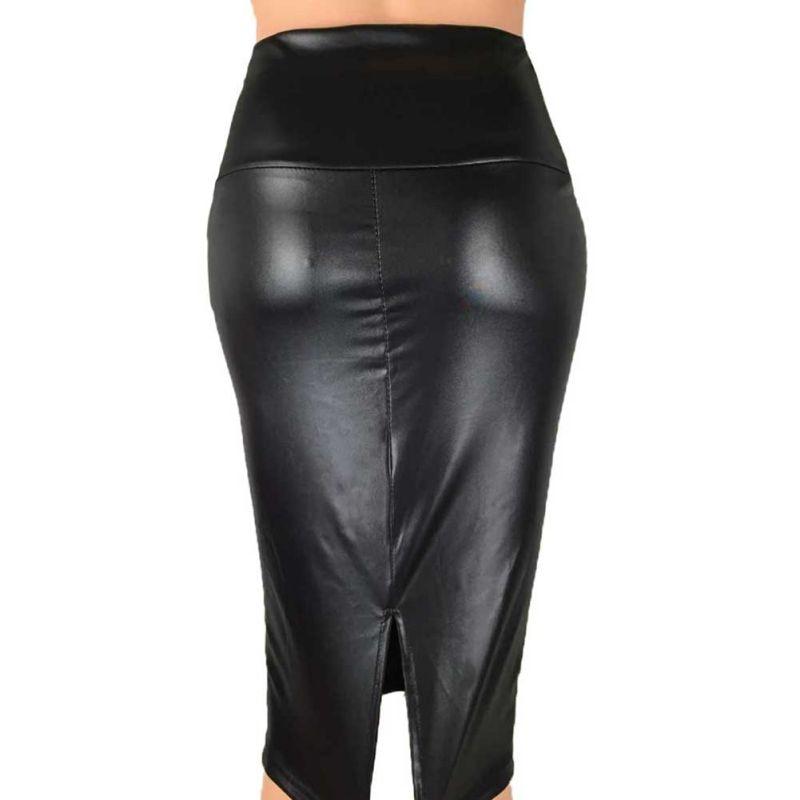 PU Leather Skirt Women 2019 New Midi Sexy High Waist  Split Skirt Office Pencil Skirts Knee Length Plus Size