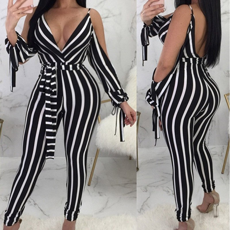 Plus Size Sexy Deep V Neck Rompers Women's Striped Jumpsuits 2020 ZANZEA Casual Backless Summer Pants Off Shoulder Playsuits 7