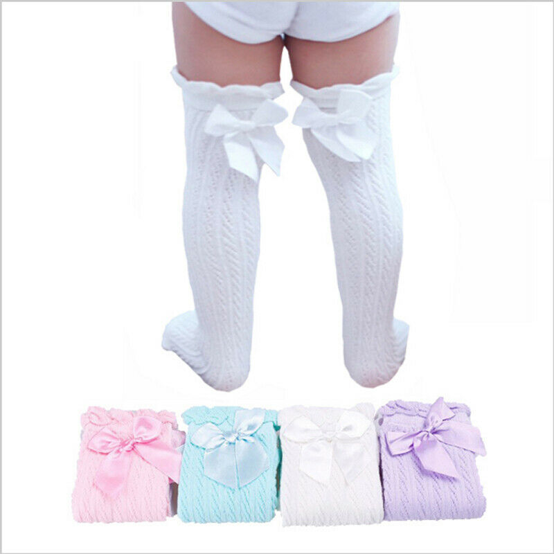 Princess Newborn Infant Toddler Baby Girl Knee Stocking Cotton Cute Bowknot Stockings Solid