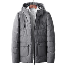 Mens cotton winter new high quality hand hooded thick short mens casual slim solid color warm coat