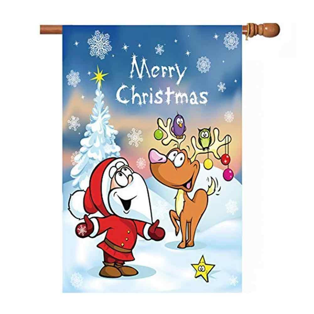 1Pc Jardim Decoração de Natal Bandeira Natal dos cervos de santa Impresso Jardim Varanda Ao Ar Livre Decoração de Casa bandeira feita sob encomenda Sem Mastro CD