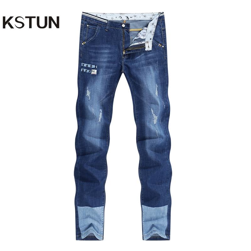 KSTUN Mens Jeans Brand Stretch 2020 Summer Thin Slim Fit Blue Hip Hop Ripped Jeans Men Denim Pants Casaul Spliced Jean Wholesale