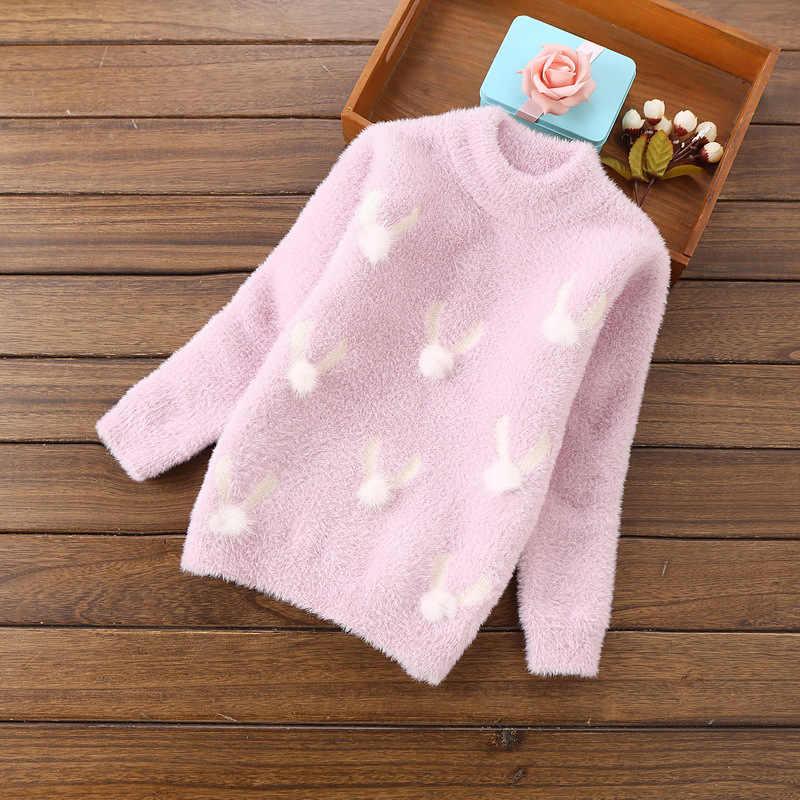 Осенние свитера с высоким воротником для девочек; зимний теплый Флокированный костюм; детские пуловеры с плюшевым шариком; свитер для маленьких девочек; детская одежда