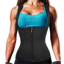 Women Neoprene Sauna Sweat Waist Trainer Vest With Zipper For Weight Loss Gym Workout Body Shaper Tank Top Shirt Sport Running