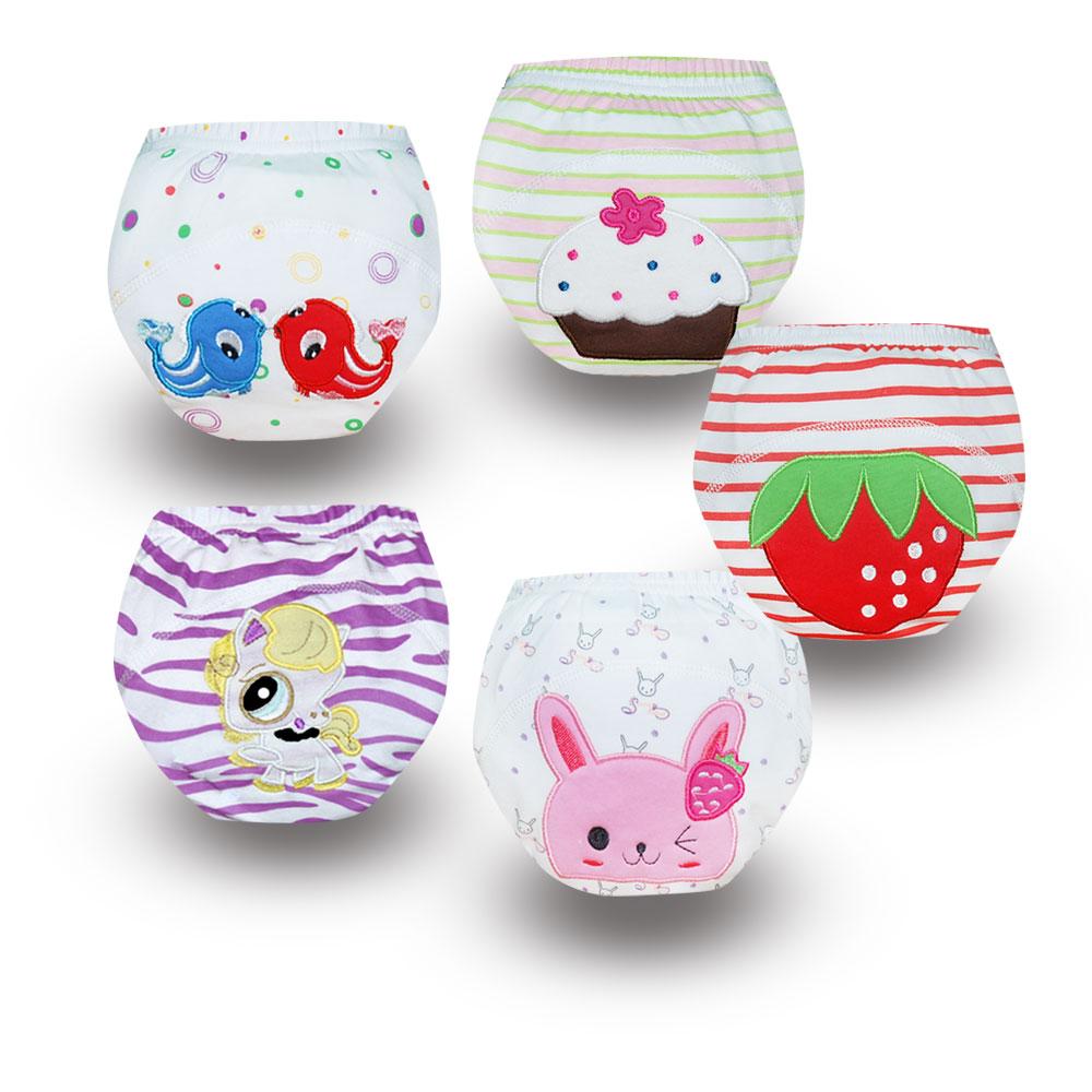 5 Pack Gfit Baby Kids Infant Cotton Potty Training Pants Waterproof Diaper Nappy Panties Cute Underwear Reusable Learning Pants