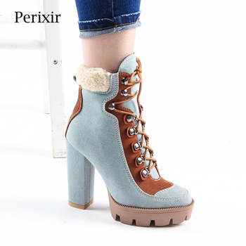 Perixir Boots Women Fashion Denim Platform Ankle Boots Chunky Heel Round Toe Winter Boots Shoes for Women High Heels botas de split toe genuine cow leather ankle boots women round chunky high heels short boots shoes ninja tabi boots