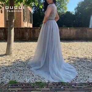 Image 3 - Женское элегантное длинное вечернее платье со стразами, расшитое бисером, с рукавом крылышком, серебристое вечернее платье из тюля, вечерние платья, для женщин