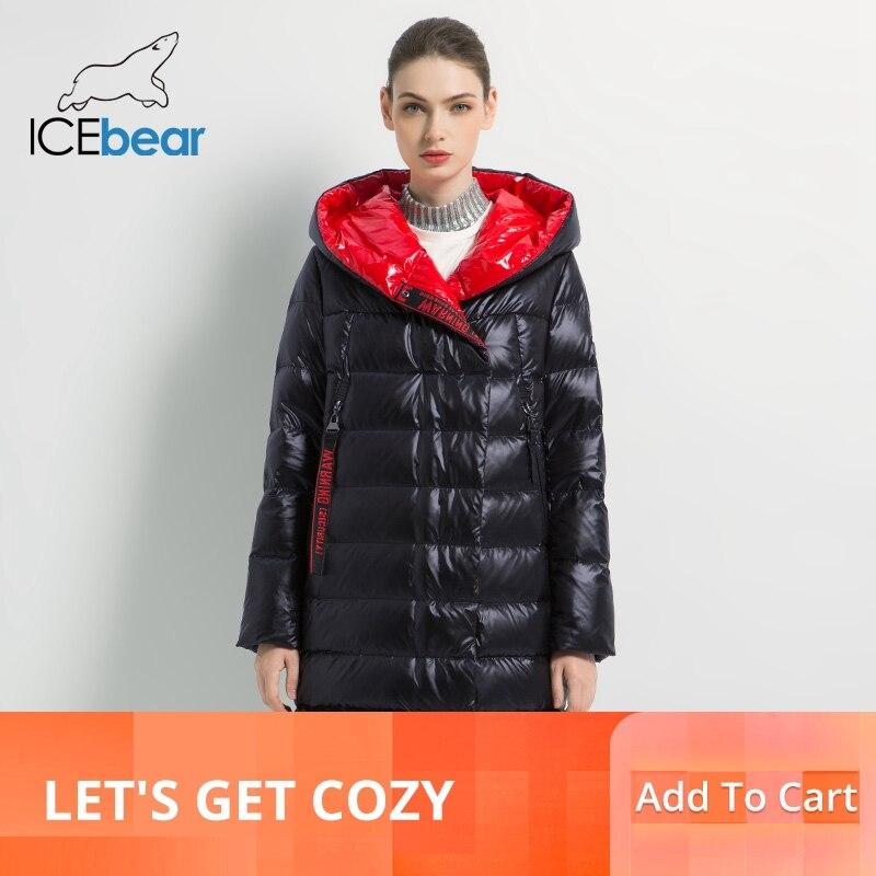 Kadın Giyim'ten Parkalar'de ICEbear 2019 kadın kış rahat ince ceket kadın moda ceket yüksek kaliteli yeni kadın kış ceket GWD19505I'da  Grup 1