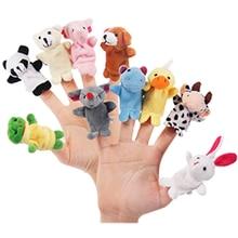 Marionnettes à doigt mignonnes en forme d'animaux de dessin animé biologique, 10 pièces, cadeau d'anniversaire de noël, jouets en peluche pour enfants