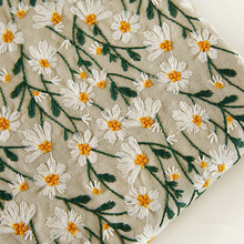 125cm Width Embroidry part Ins-inspired art Daisy embroidery three-dimensional embroidery cotton and linen fabric