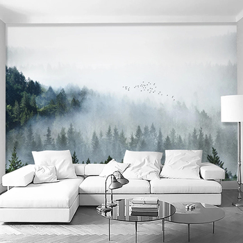 Custom Mural Wallpaper 3D Cloud Foggy Forest Nature Scenery Wall Painting Living Room Study Background Wall Papel De Parede 3 D custom 3d photo wallpaper green forest scenery large wall painting living room bedroom background wall mural papel de parede 3d