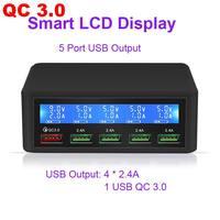 QC3.0 Carica Rapida 5 Porte USB Display LCD Charger Carregador Chargeur Per Il Iphone Xiaomi Portatil Caricatore Della Parete Del Telefono Mobile Veloce