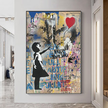 Banksy Graffiti Art Canvas Painting Girl With Red Balloon Posters and Prints Street Wall Art Picture Living Room Decor Cuadros