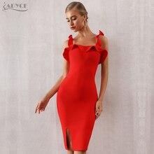 Adyce 2019 New Summer Red Bandage Dress Women Sexy Sleeveless Spaghetti Strap Ruffles Club Vestido Celebrity Runway Party
