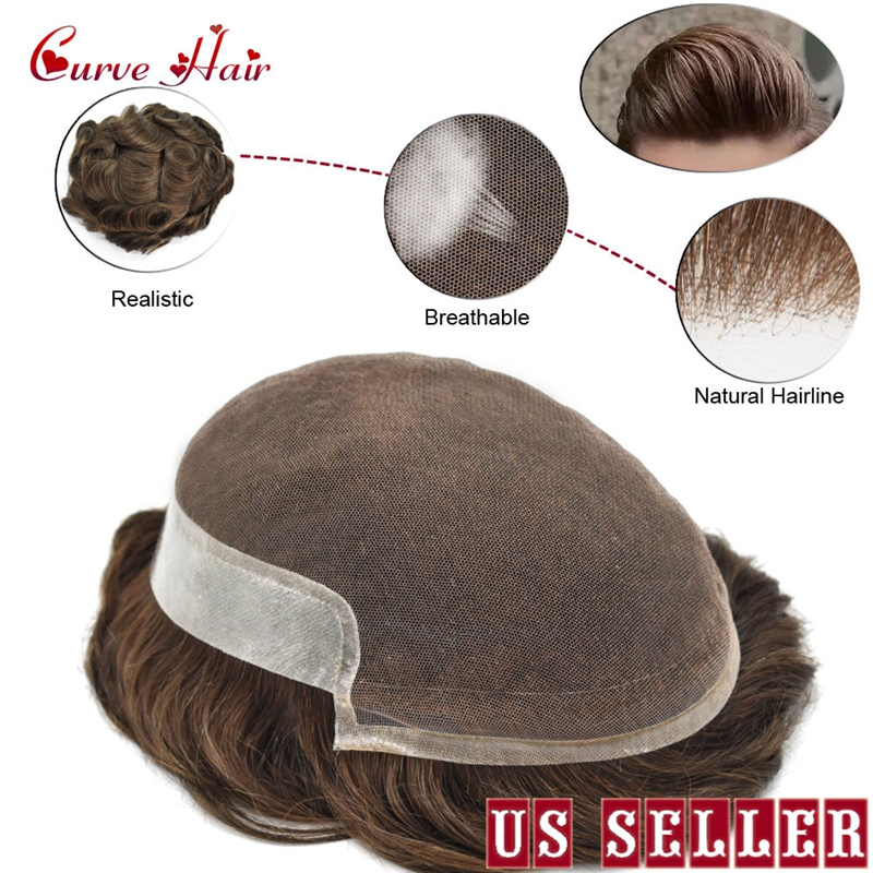French Lace Front Human Hair Men Toupee Thin Skin Wig For Men Natural Hairline Hairpiece All Hand Tied Hair Replacement System