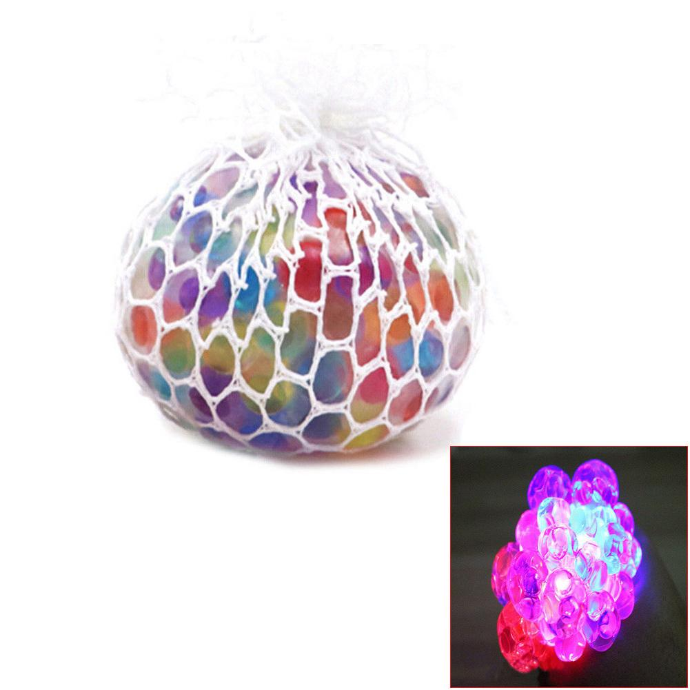 Flash Glowing Squishy Mesh Grape Ball Autism Squeeze Anti Stress Reliever Toys