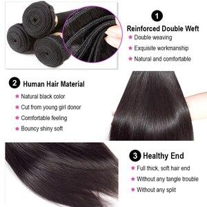 Image 4 - Luxediva naturalne włosy brazylijskie wiązki splecionych prostych włosów z zamknięcie koronki 4x4in Remy ludzkich włosów hurtowych luzem wiele cheveux