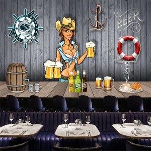 Image 5 - Stile europeo e Americano Retrò Bordo di Legno di Birra Murale Carta Da Parati Ristorante Bar KTV Decorazione Della Parete di Carta Industriale 3D
