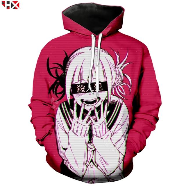 Dziewczyna Anime Sexy mój bohater Academia Ahegao Manga drukowane bluzy z kapturem z nadrukiem 3D bluza w stylu Casual Anime dres swetry T31