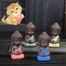 Mini macacos de budismo chinês, estágios pequenos de buda para meditação de monge, artesanato em miniatura, estatísticas de buda, argila, 1 peça