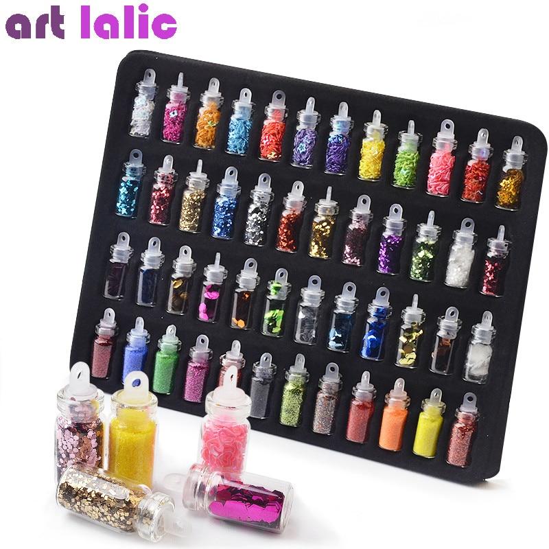 Artlalic 48 Bottles Nail Art Rhinestones Beads Sequins Glitter Tips Decoration Tool Gel Nail Stickers Mixed Design Case Set