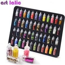 Artlalic 48 Flessen Nail Art Steentjes Kralen Pailletten Glitter Tips Decoratie Tool Gel Nail Stickers Mixed Ontwerp Case Set