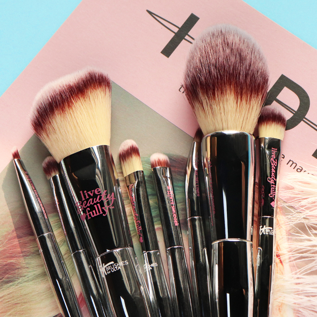 Professional 8/9pcs Makeup Brushes Set Live Beauty Fully Silver IT Cosmetic Brush Kit Face Eyes Makeup Tool Collection 5