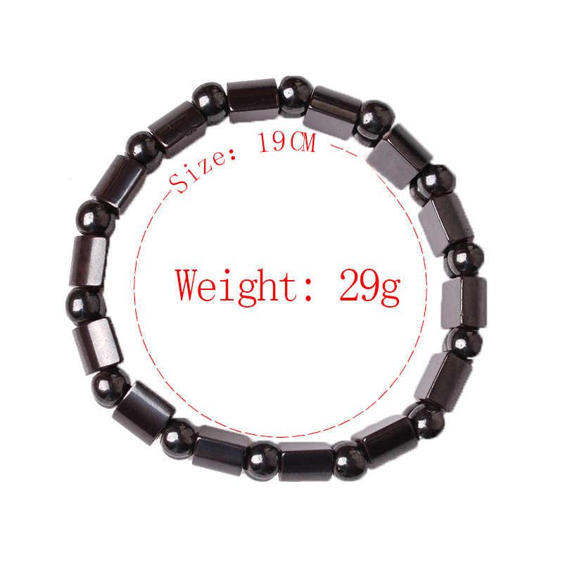 Pedra Natural Pulseira Preta Pulseira Hematita Magnética para Homens Mulheres Charme Da Moda Saudável Pulseiras Presente Da Jóia