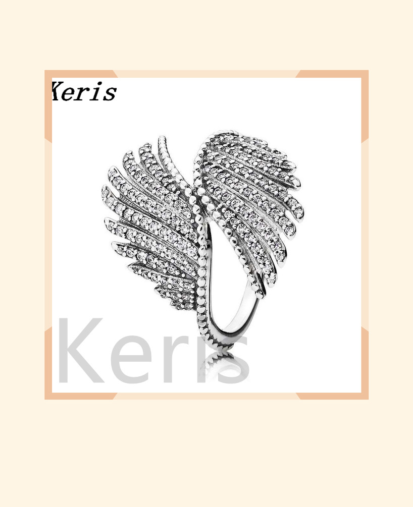 100% 925 sterling silver 1:1 original majestic feather ring 190960cz female lovely gift jewellery