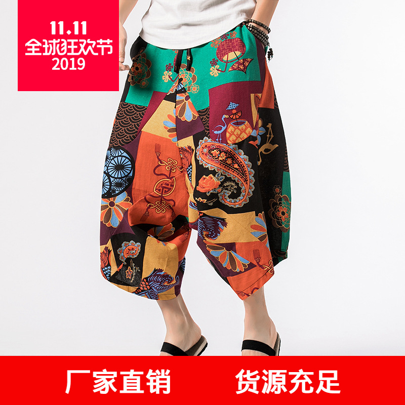 Cotton Linen Men'S Wear 2019 Men's Casual Summer Low-Grade Capri Shorts Chinese-style Ethnic-Style Plus-sized Fashion