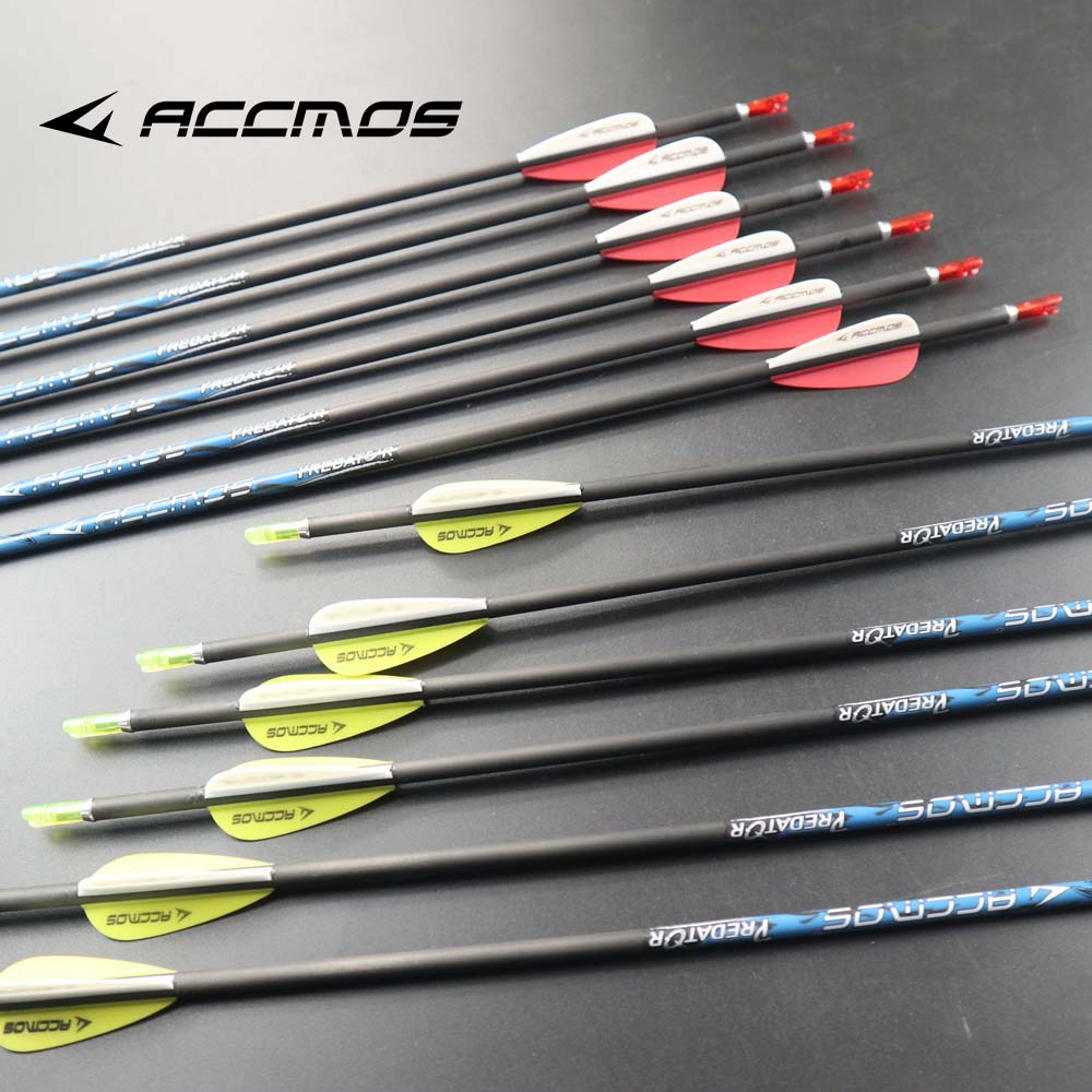 12pcs Pure Carbon Arrow Spine 300 350 400 500 600 700 800 900 1000 Pure Carbon Arrow Shaft ID 4.2mm Arrow  With Yellow And White