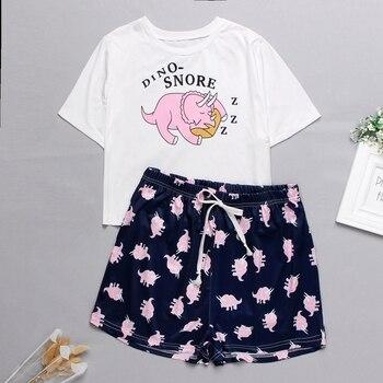 Womens Homewear Cute Cartoon Printed Pajamas Set Casual Short Sleeve T-Shirt Sleepwear Nightwear Set Summer Pyjama For Women Set 1