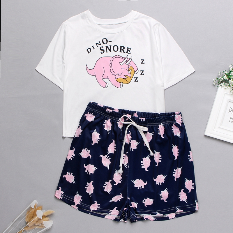 Womens Homewear Cute Cartoon Printed Pajamas Set Casual Short Sleeve T-Shirt Sleepwear Nightwear Set Summer Pyjama For Women Set