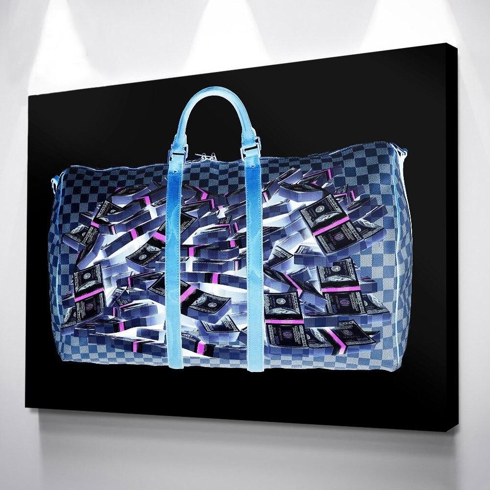 Decoração da sala de lona saco azul dinheiro lona hd pintura parede pop arte cuadros decoracion salão impressões em tela nova venda quente