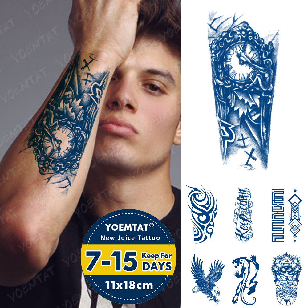 Juice Ink Lasting Waterproof Tattoo Sticker Clock Cross Old School Flame Totem Flash Tattoos Arm Body Art Fake Tatto Men Women
